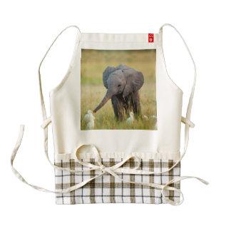 Baby Elephant and Birds Zazzle HEART Apron