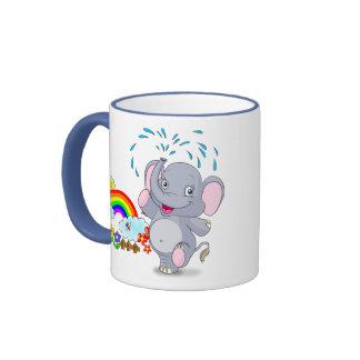 Baby Elephant and Bright Rainbow Cartoon Mug