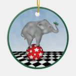 Baby Elephant and Holly ornament