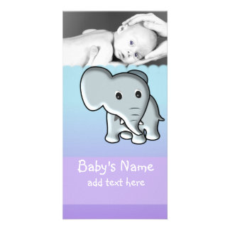 Baby Elephant Announcement Picture Card