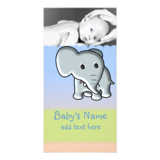 Baby Elephant Announcement Photo Cards