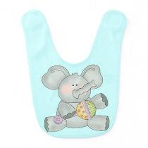 Baby Elephant Aqua Blue Boys Bib