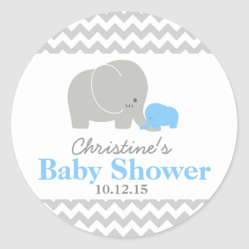Baby Shower Elephant Stickers ~ Baby elephant shower favor labels classic round