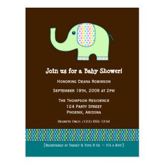 Baby Elephant Baby Shower Invitation Postcard