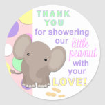Baby Elephant Baby Shower Sticker Pink