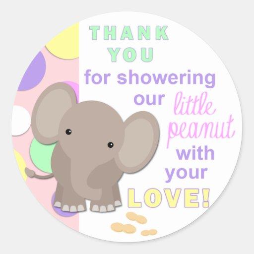 Baby Shower Elephant Stickers ~ Baby elephant shower sticker pink zazzle