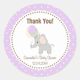 Baby Elephant Baby Shower Sticker Purple
