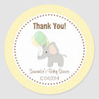 Baby Elephant Baby Shower Sticker Yellow