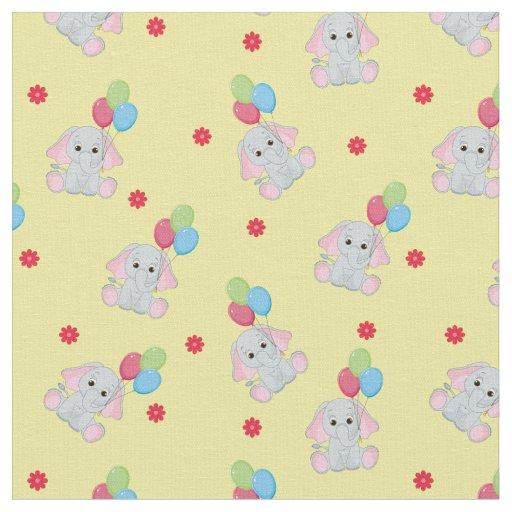 Baby elephant balloons yellow fabric yard zazzle for Yellow baby fabric