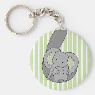 Baby Elephant Basic Round Button Keychain