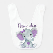 Baby elephant bib person;alized with name