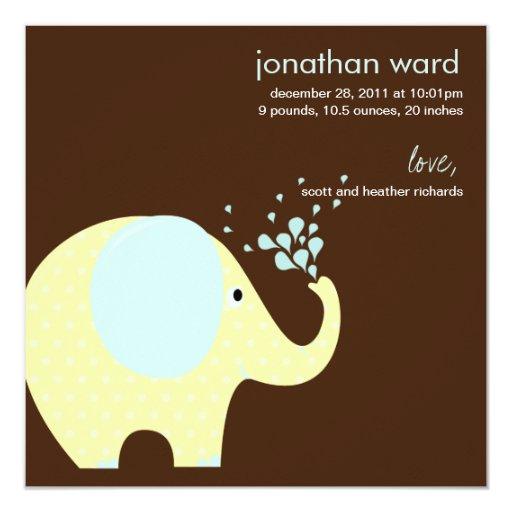 Baby Elephant Birth Announcement