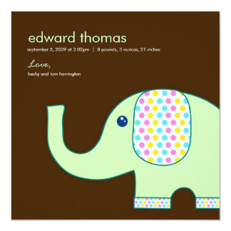 Baby Elephant Birth Announcement, Brown and Green Card