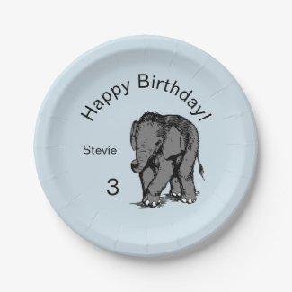 Baby Elephant Birthday Blue
