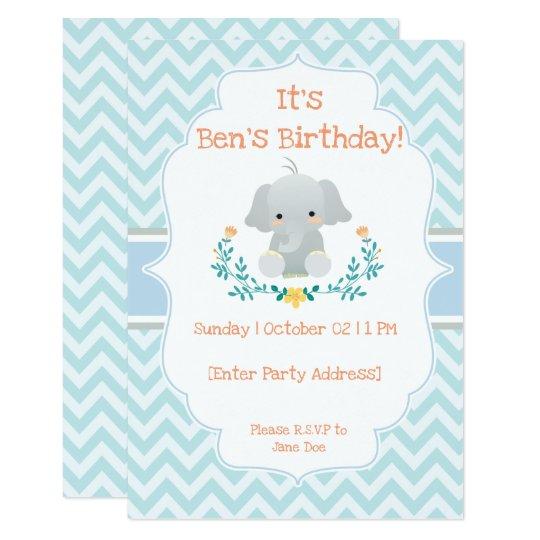 Baby Elephant Birthday Invitations