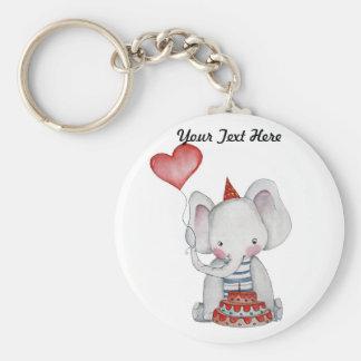 Baby Elephant Birthday Keychain