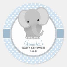Baby Elephant (blue) Baby Shower Classic Round Sticker