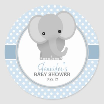 reflections06 Baby Elephant (blue) Baby Shower Classic Round Sticker