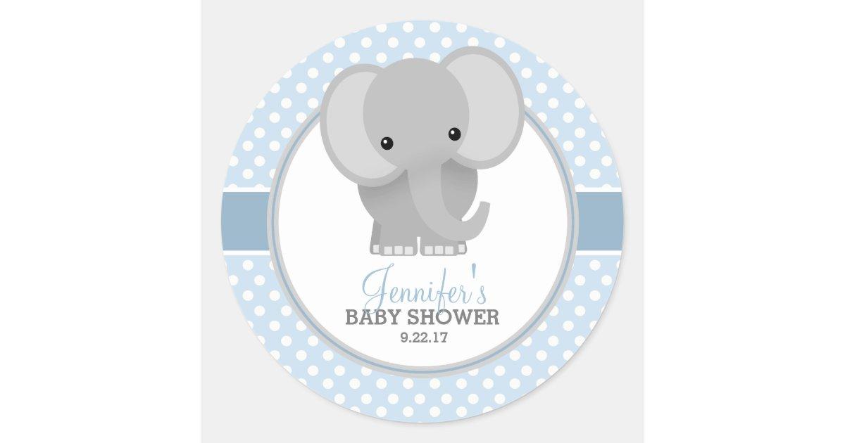 Baby Elephant Blue Baby Shower Classic Round Sticker Zazzle