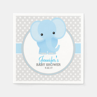 baby elephant blue baby shower napkin