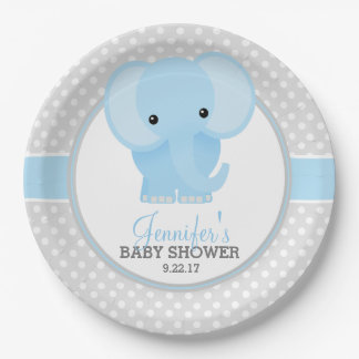 baby elephant blue baby shower paper plate