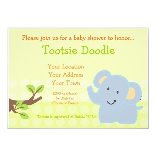 Baby Elephant Blue Boy Baby Shower Sprinkle Card