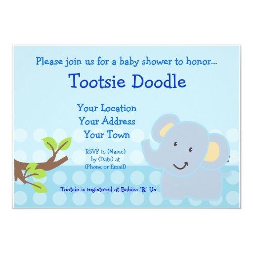 baby elephant blue boy baby shower sprinkle card zazzle