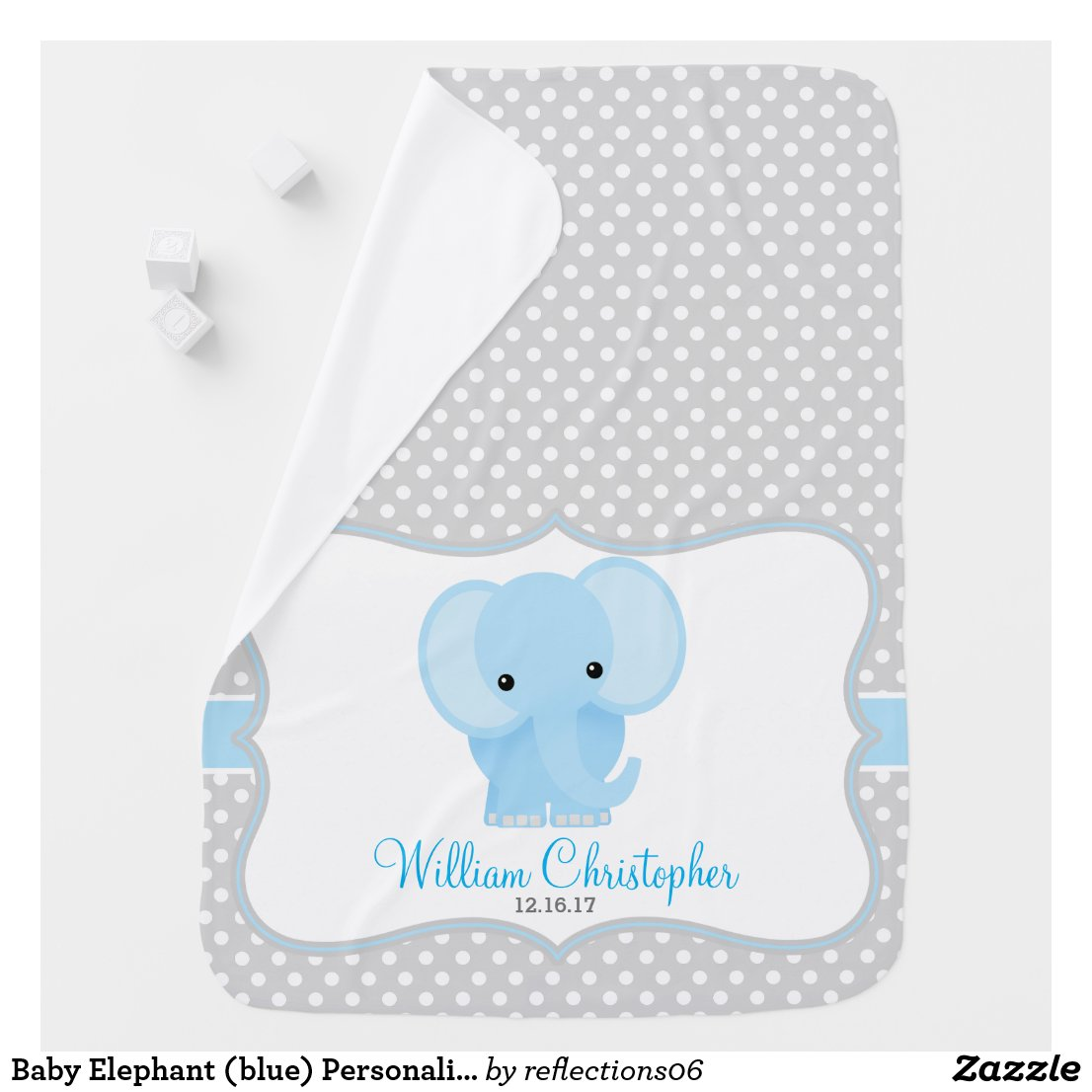 Baby Elephant (blue) Personalized Stroller Blanket