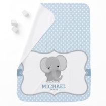 Baby Elephant (blue) Personalized Swaddle Blanket
