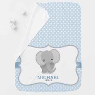 Baby Elephant (blue) Personalized Swaddle Blanket