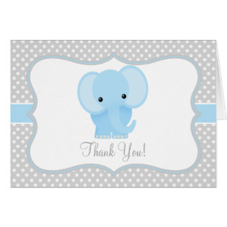 Baby Elephant (blue) Thank You Card