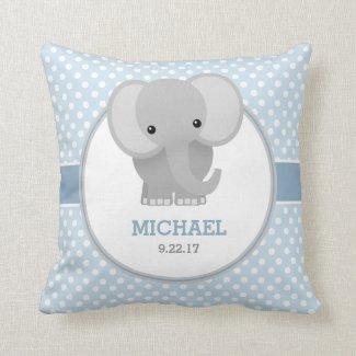 Baby Elephant (blue) Throw Pillow