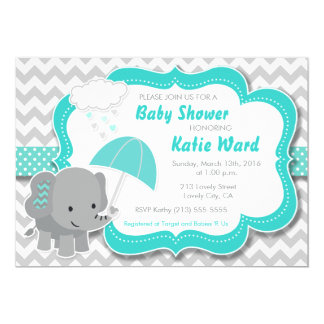 Baby Elephant Boy Baby Shower Teal Blue Invitation