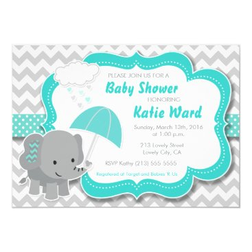 Valentines Themed Baby Elephant Boy Baby Shower Teal Blue Invitation