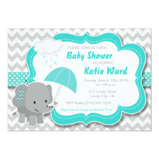 baby elephant boy baby shower teal blue invitation