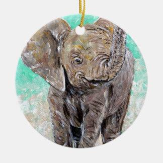 Baby Elephant Ceramic Ornament
