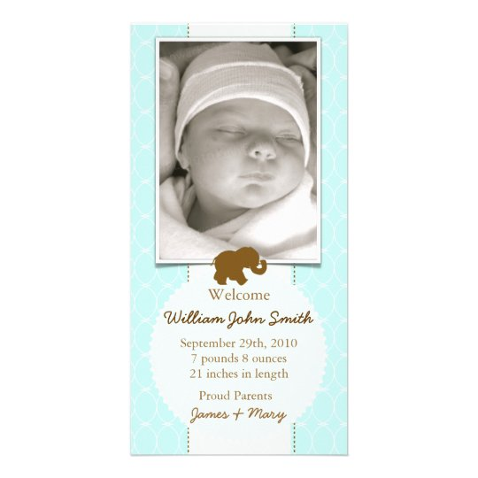 Baby Elephant Chocolate & Blue Baby Announcement