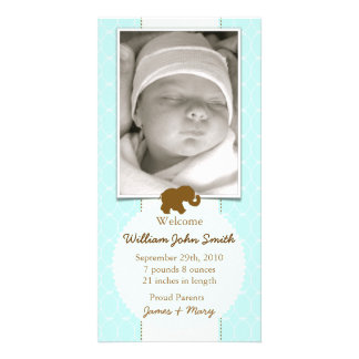 Baby Elephant Chocolate & Blue Baby Announcement Personalized Photo Card