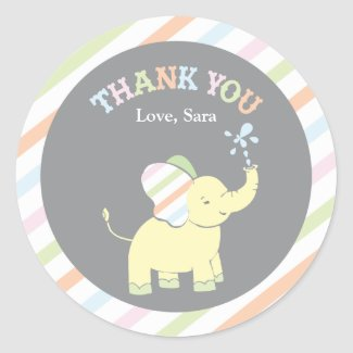 Baby Elephant   Favor Sticker