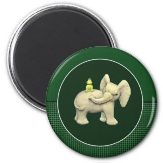 Baby Elephant & Frog 2 Inch Round Magnet
