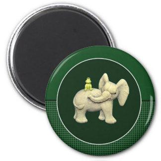 Baby Elephant & Frog Magnet