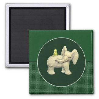 Baby Elephant & Frog Refrigerator Magnet