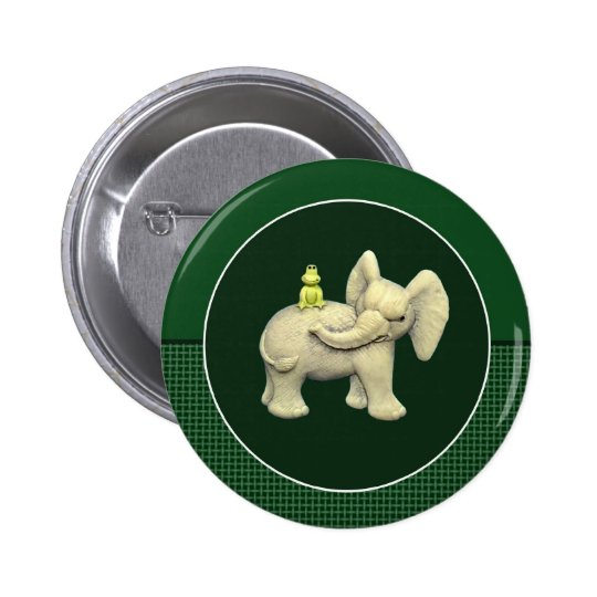 Baby Elephant & Frog Pinback Button