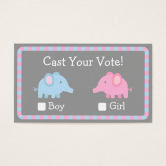 Baby Elephant, Gender Reveal Party, Ballot Vote Business Card