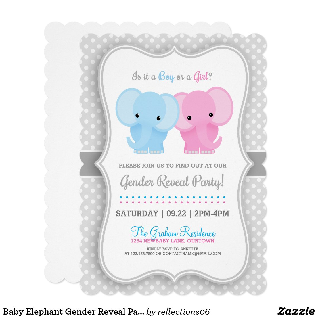 Baby Elephant Gender Reveal Party Card
