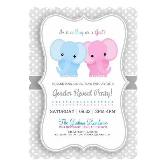 Baby Elephant Gender Reveal Party Invitations Zazzlecom
