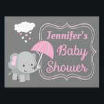"Baby Elephant Girl Baby Shower Lawn Sign<br><div class=""desc"">Let all your guests know they&#39;re at the right place with this adorable matching baby elephant lawn sign. Features an adorable elephant holding an umbrella being showered with heart rain from a cloud on a gray background. Matching invitations available!</div>"
