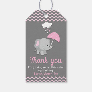 Baby Elephant Girl Baby Shower Party Favor Tags
