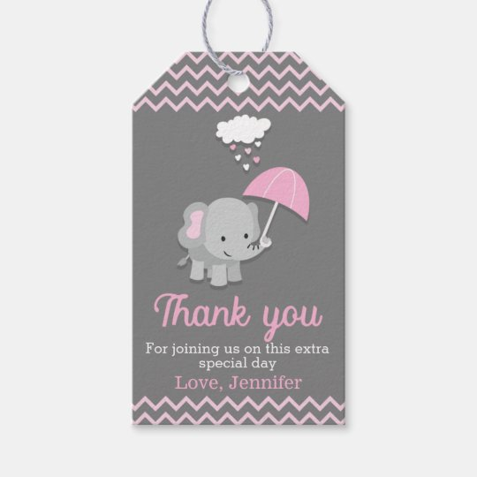 Baby Elephant Girl Baby Shower Party Favor Tags Zazzle Com