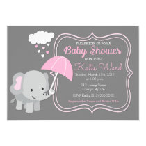 Baby Elephant Girl Baby Shower Pink Invitation
